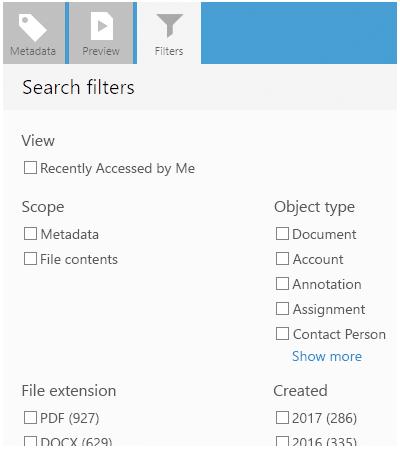 M-Files screenshot filter